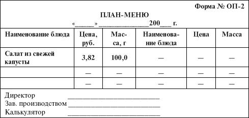 план меню образец столовая