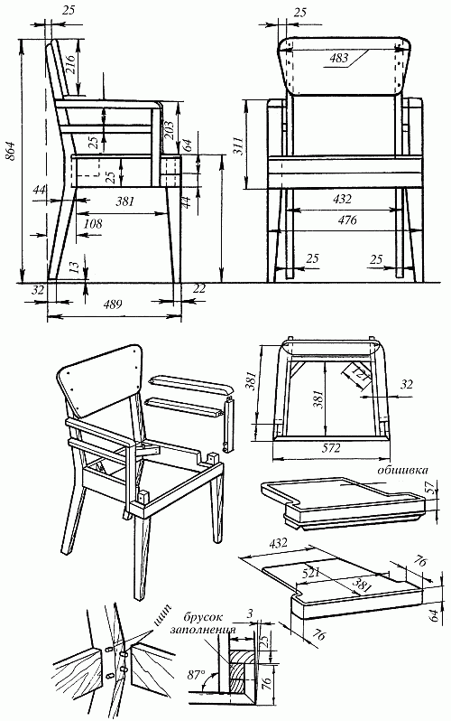 Изготовление мягкого кресла: