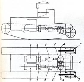 ...1- двигатель правого борта, 2- двигатель левого борта, 3 - сцепления, 4- коробки передач, 5- червячные пары...